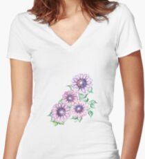 Lilac Flowers  Women's Fitted V-Neck T-Shirt