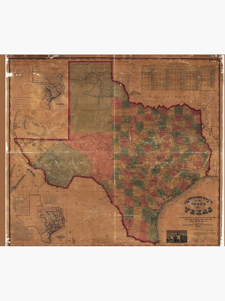 Pressler's Map of the State of Texas (1862) by allhistory