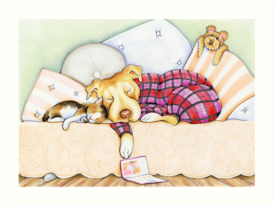 Pit Bull In Pajamas by offleashart