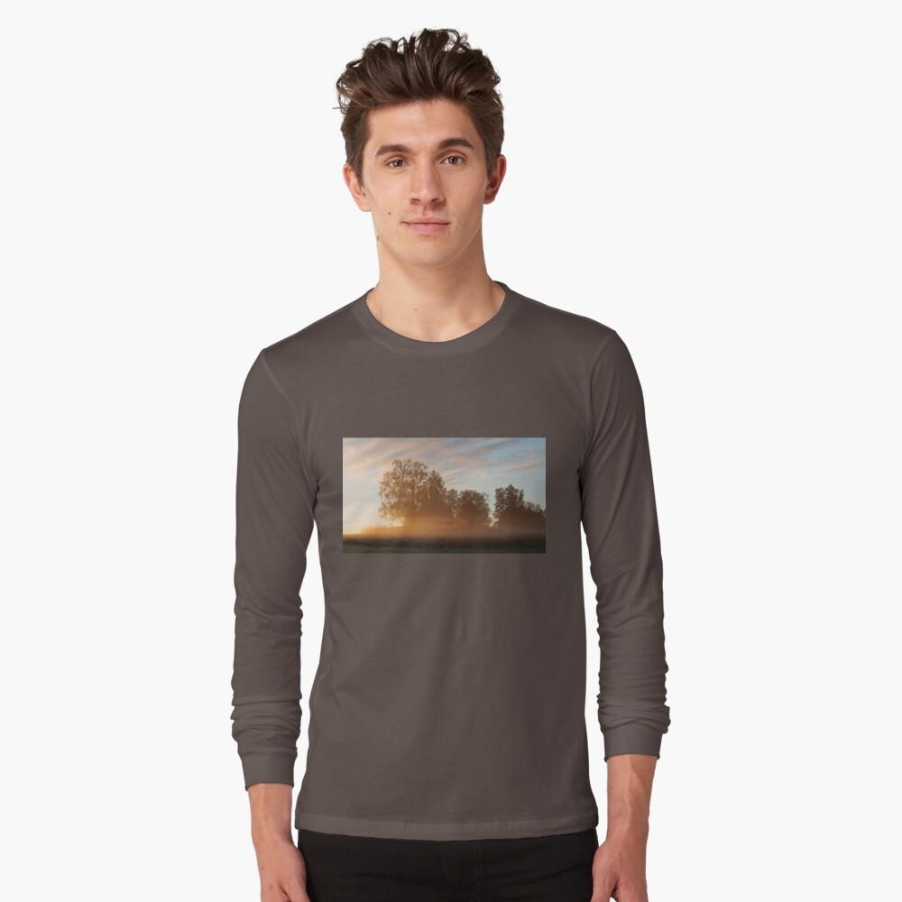 Misty meadow landscape sunrise Long Sleeve T-Shirt