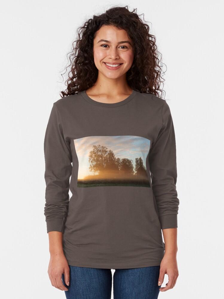 Alternate view of Misty meadow landscape sunrise Long Sleeve T-Shirt