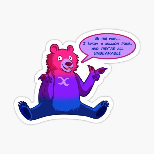 Bi Pride Flag Bear (moon bear) [variant] Sticker
