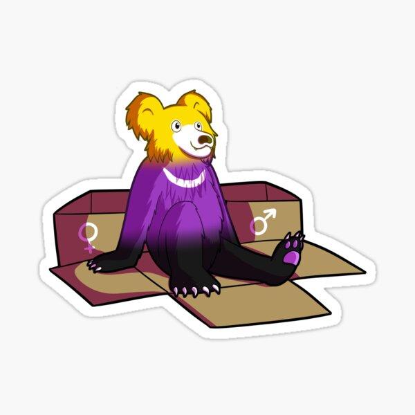 Non-Binary Pride Flag Bear (sloth bear) [variant] Sticker