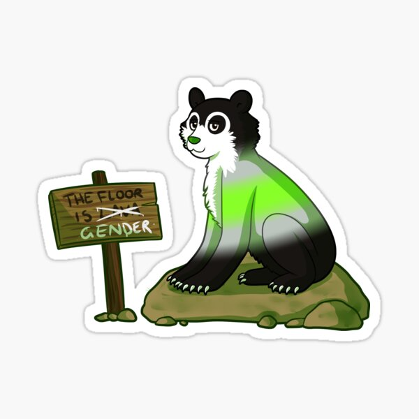 Agender Pride Flag Bear (spectacled bear) [variant] Sticker