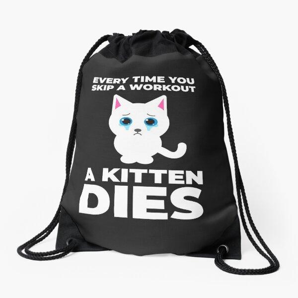 Funny Workout Motivation Cat Drawstring Bag