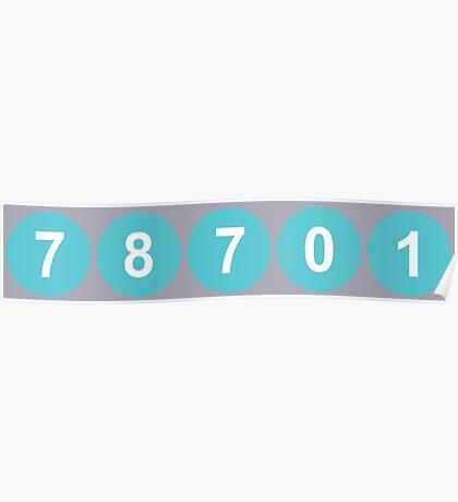 78701 Austin Zip Code Poster