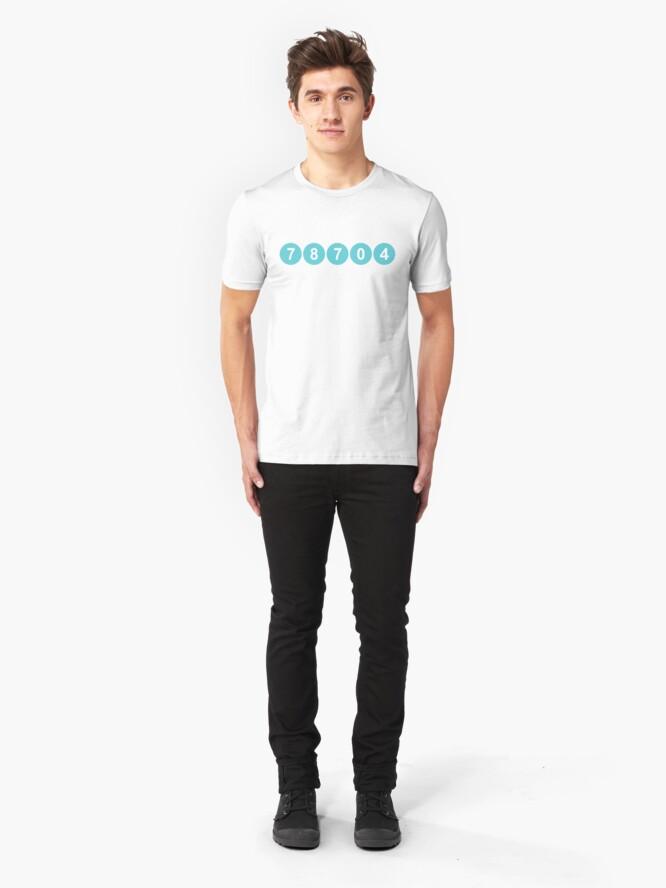 Alternate view of 78704 Austin Zip Code Slim Fit T-Shirt