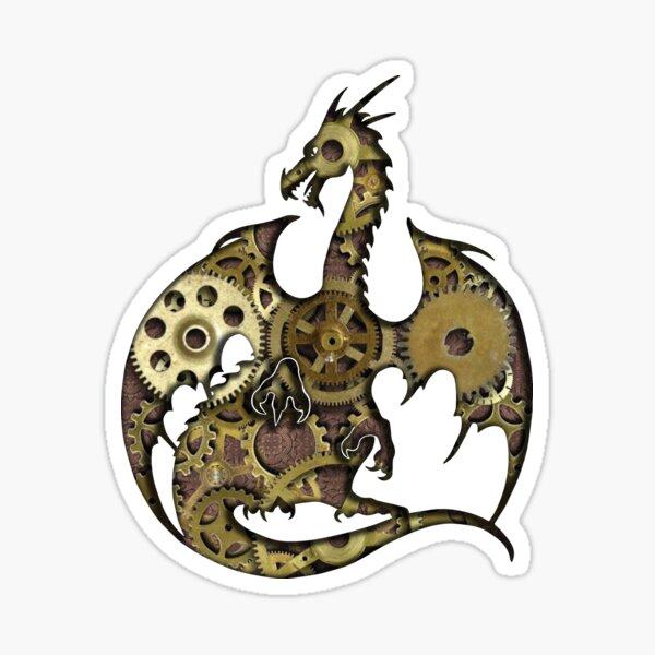 Clockwork Dragon Silhouette Sticker