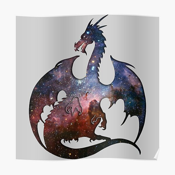 Deep Space Dragon Silhouette Poster