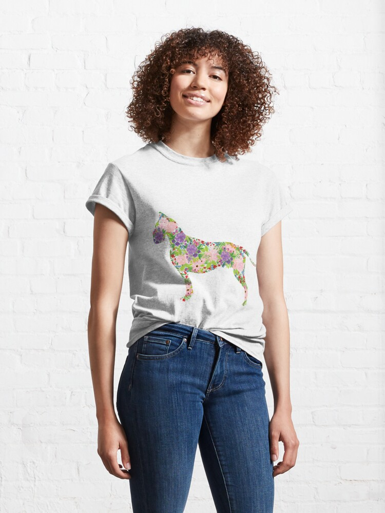 Alternate view of Floral Great Dane Classic T-Shirt