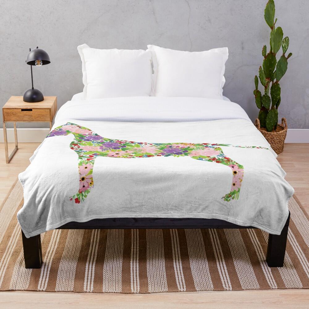 Floral Great Dane Throw Blanket
