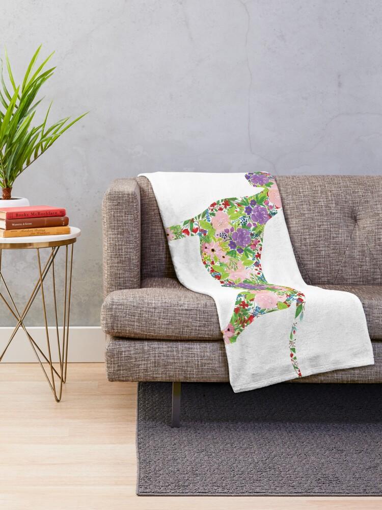 Alternate view of Floral Great Dane Throw Blanket