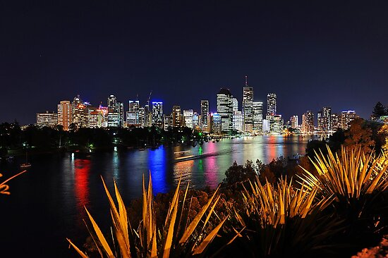 Brisbane River & City At Night. Queensland, Australia. by Ralph de Zilva
