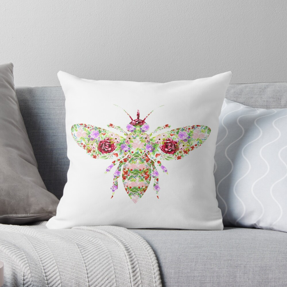 Floral Worker Bee Throw Pillow