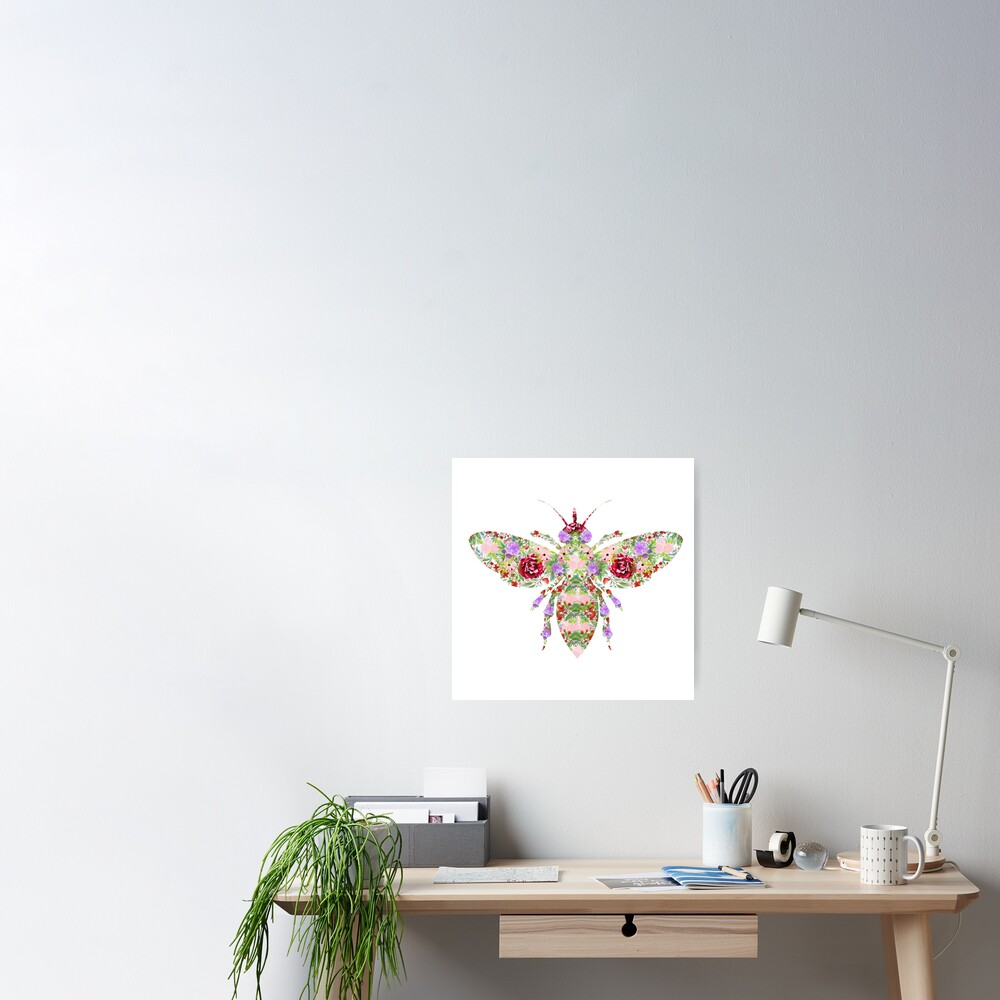 Floral Worker Bee Poster