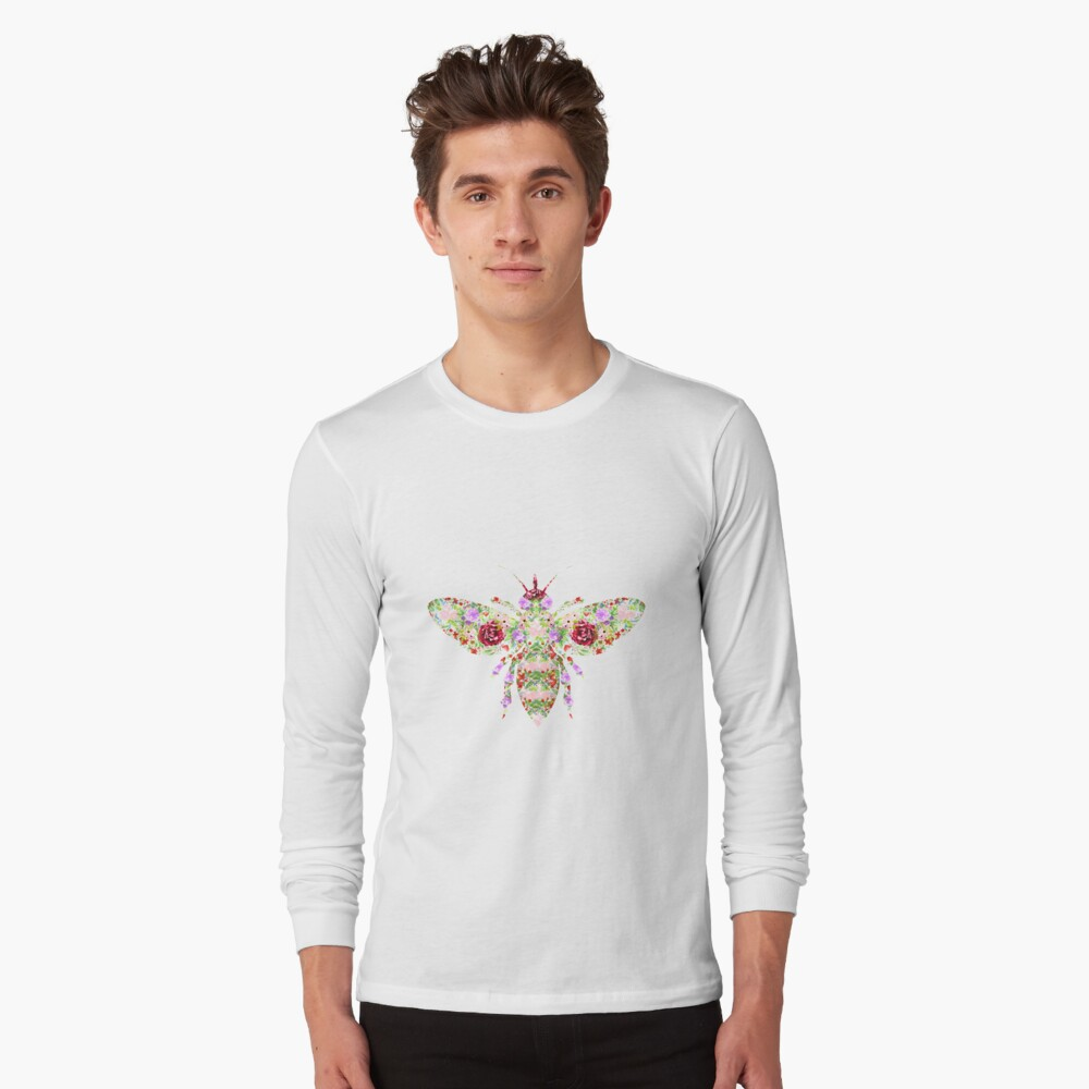 Floral Worker Bee Long Sleeve T-Shirt