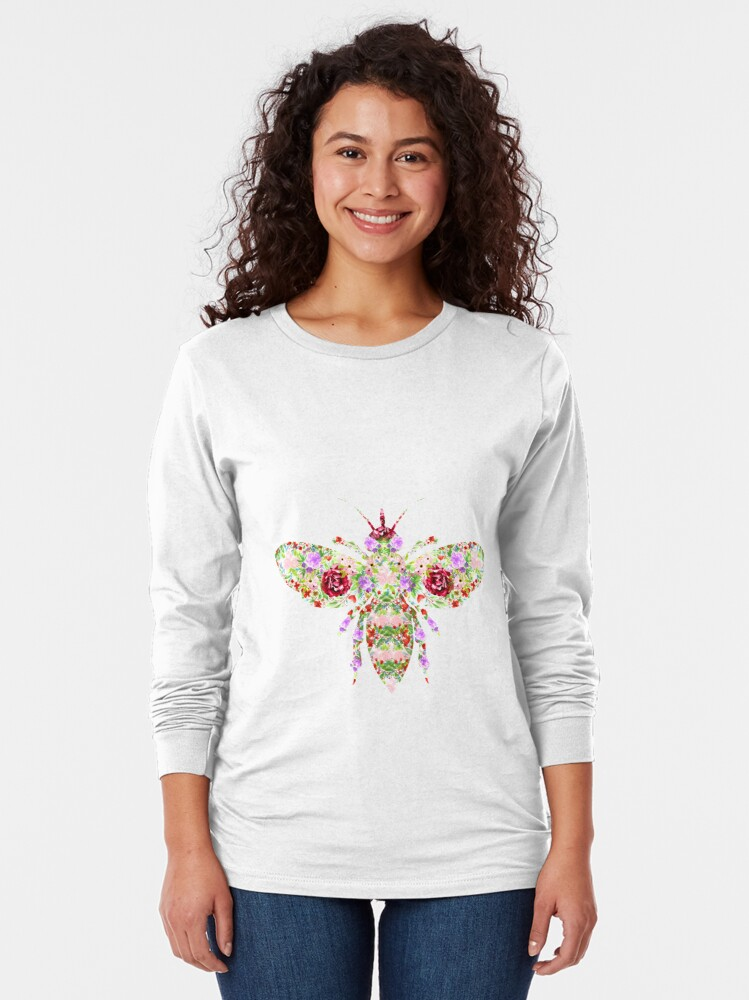 Alternate view of Floral Worker Bee Long Sleeve T-Shirt