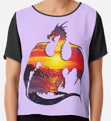 Sunset Dragon Silhouette Chiffon Top