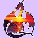 Sunset Dragon Silhouette by ferinefire