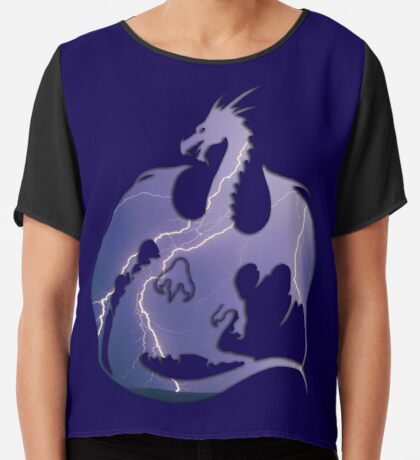 Storm Dragon Silhouette Chiffon Top