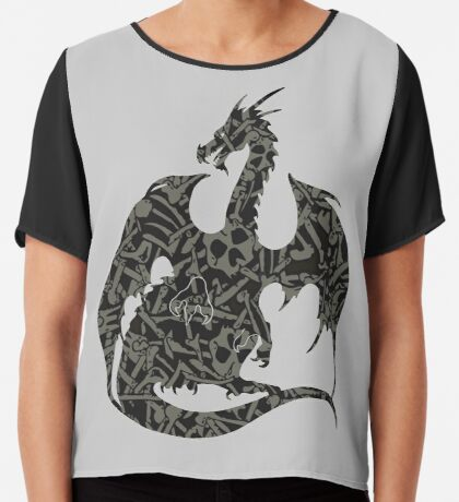 Necromancy Dragon Silhouette Chiffon Top