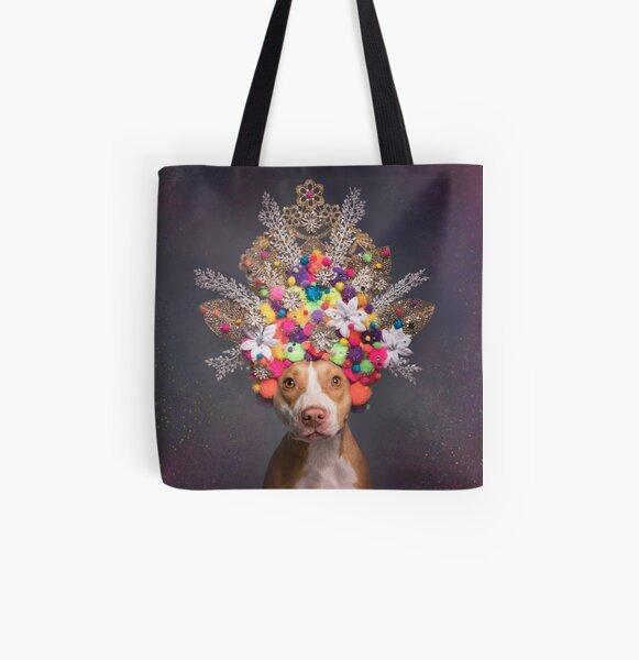Pit Bull Flower Power, Frida All Over Print Tote Bag