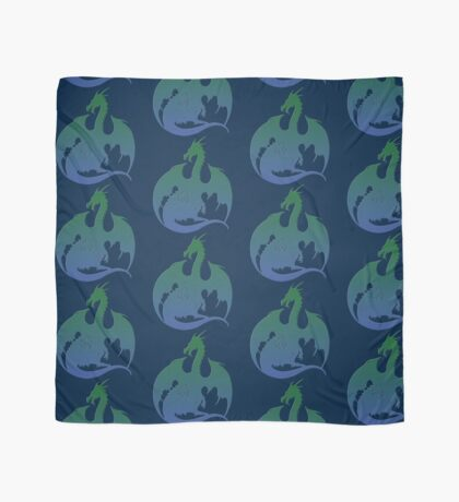 Blue Green Dragon Silhouette Scarf