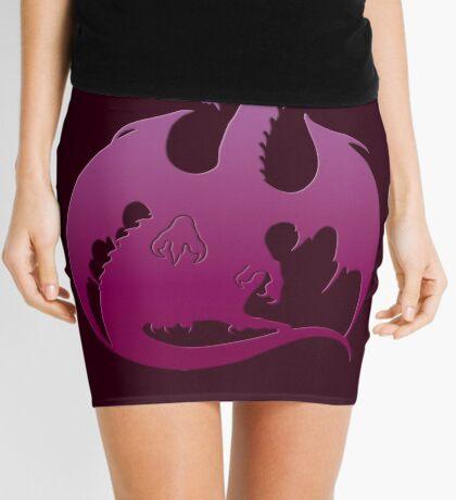 Pink Purple Dragon Silhouette Mini Skirt