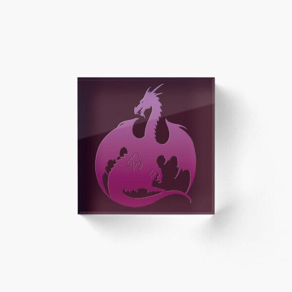 Pink Purple Dragon Silhouette Acrylic Block