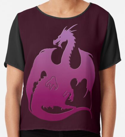 Pink Purple Dragon Silhouette Chiffon Top
