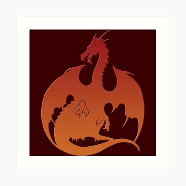 Red Orange Dragon Silhouette Art Print