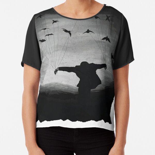 Man In flight with ravens Chiffon Top
