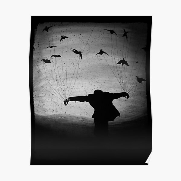 Man in Flight With Crows Poster