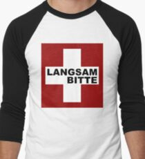 Swiss Flag (XLarge-design) Langsam Bitte  Men's Baseball ¾ T-Shirt