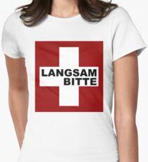 Swiss Flag (XLarge-design) Langsam Bitte  Women's Fitted T-Shirt