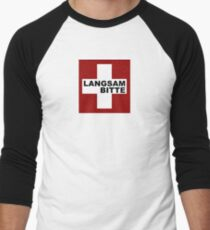Swiss Flag (Medium-design) Langsam Bitte Men's Baseball ¾ T-Shirt