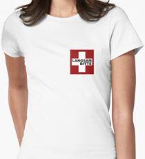 Swiss Flag (pocket-size) Langsam Bitte Women's Fitted T-Shirt