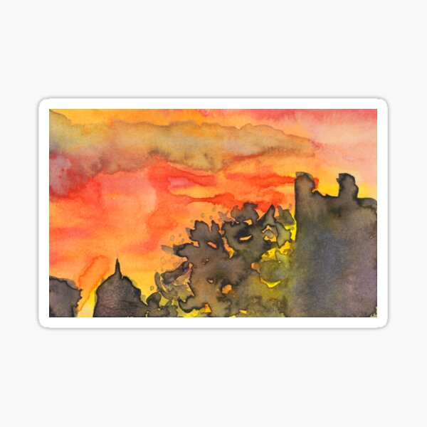 sunset in the city Sticker