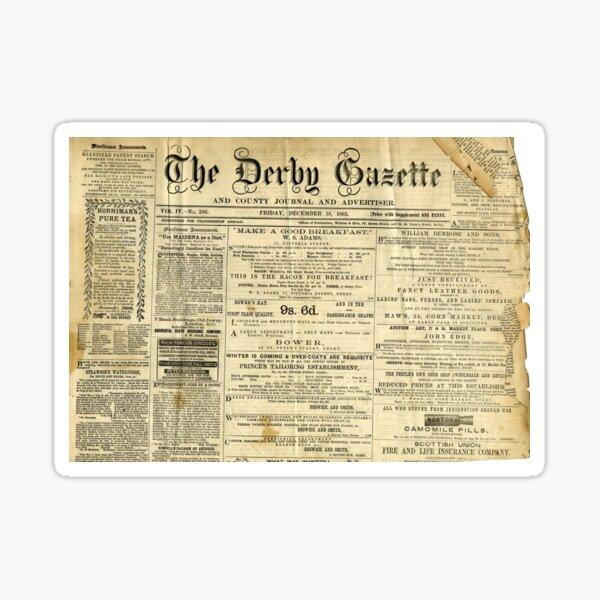Old Newspapers, The Derby Gazette Sticker