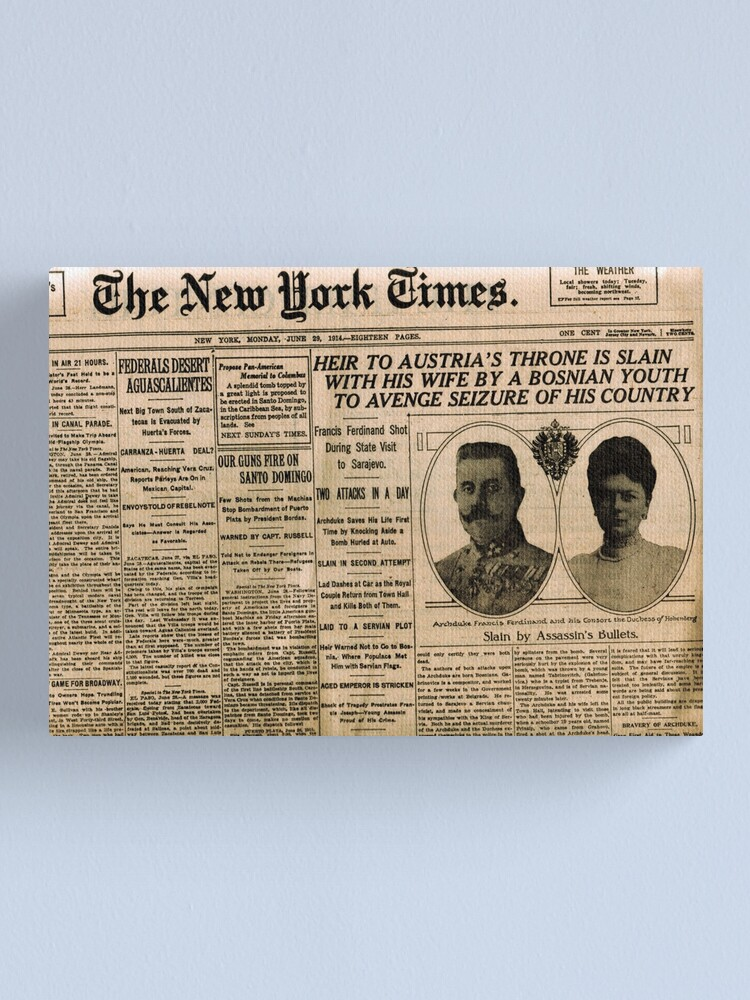 Alternate view of Newspaper article on the assassination of Archduke Franz Ferdinand. Old Newspaper, 28th June 1914, #OldNewspaper #Newspaper Canvas Print
