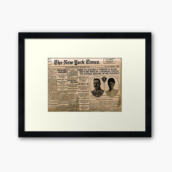 Newspaper article on the assassination of Archduke Franz Ferdinand. Old Newspaper, 28th June 1914, #OldNewspaper #Newspaper Framed Art Print