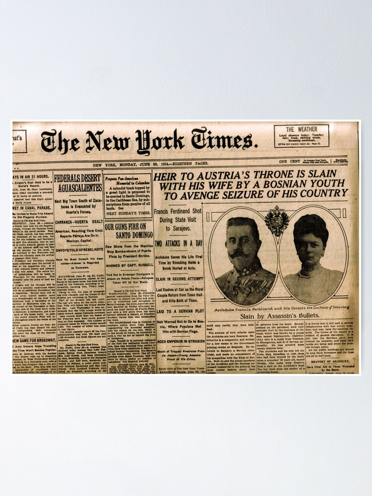 Alternate view of Newspaper article on the assassination of Archduke Franz Ferdinand. Old Newspaper, 28th June 1914, #OldNewspaper #Newspaper Poster