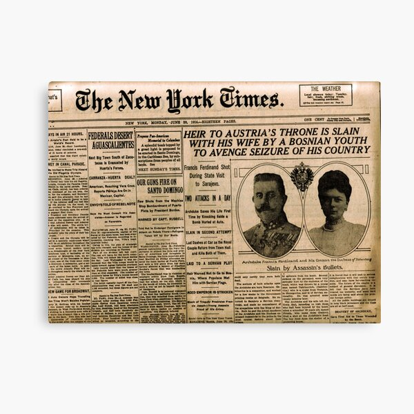 Newspaper article on the assassination of Archduke Franz Ferdinand. Old Newspaper, 28th June 1914, #OldNewspaper #Newspaper Canvas Print