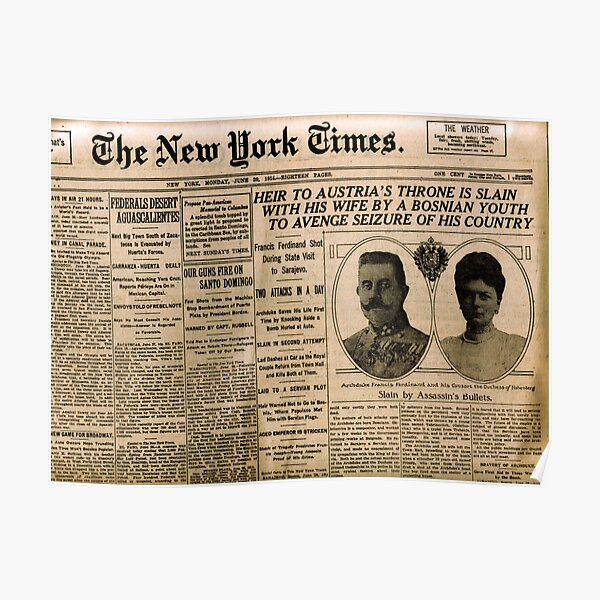 Newspaper article on the assassination of Archduke Franz Ferdinand. Old Newspaper, 28th June 1914, #OldNewspaper #Newspaper Poster