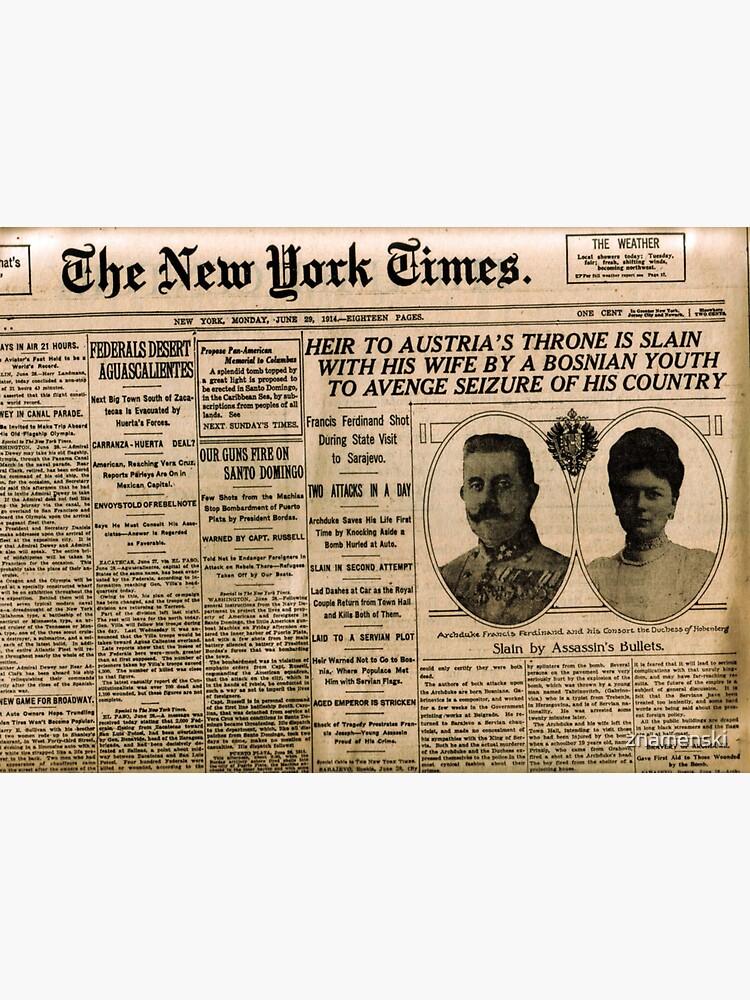 Newspaper article on the assassination of Archduke Franz Ferdinand. Old Newspaper, 28th June 1914, #OldNewspaper #Newspaper by znamenski