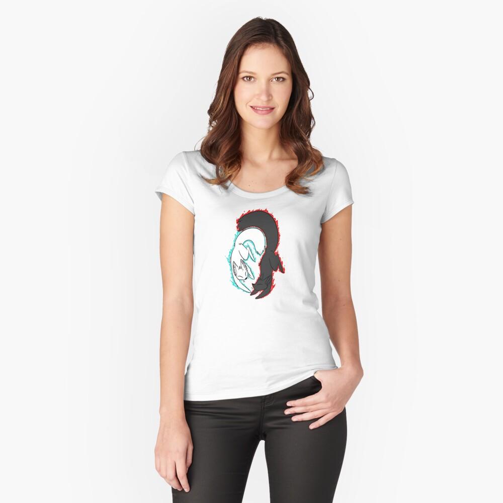 Zorro de llamas gemelas! Camiseta entallada de cuello ancho