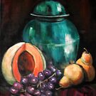 Turquoise Jar Still Life by Pamela Plante