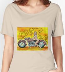 Girl on a Motorcycle, pinup girl art by Tom Conway Women's Relaxed Fit T-Shirt