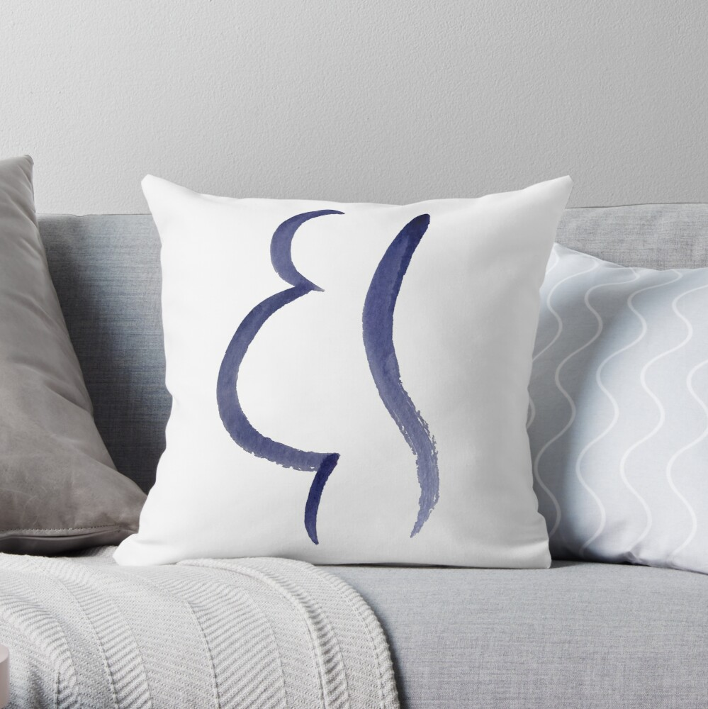 Purple Mama Outline Painting Throw Pillow