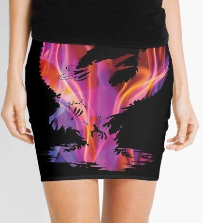 Mystic Fire Phoenix Silhouette Mini Skirt